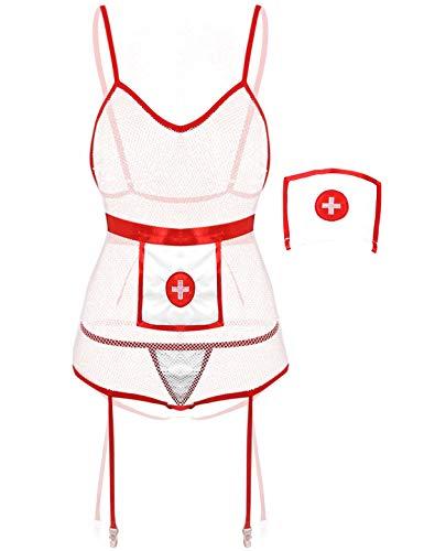 IEFIEL Mujer Conjuntos de Lencería Disfraz de Enfermera Bodysuit Uniforme de Sirvienta Sexy Ropa de Dormir Body Ajustado con Ligas Blanco Small