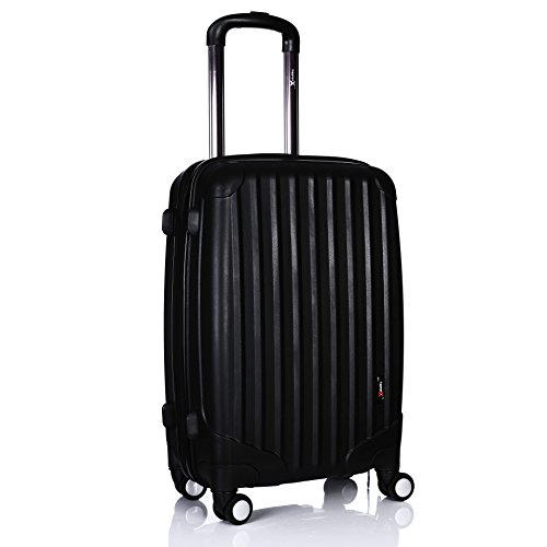 Luggage X Black Hard Shell Cabin Approved Case Super Lightweight Hand Luggage Suitcase with 4 Double Wheels