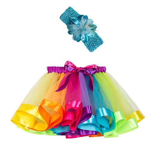 Ropa Infantil Moda 2-11 años Niño Infantil BEBÉ Chica Falda Arco Iris Tutu Fiesta Baile Ballet Mini Vestido Falda Princesa + Conjunto de Bandas para el Cabello 2 Piezas (Multicolor, S 2-4 años)