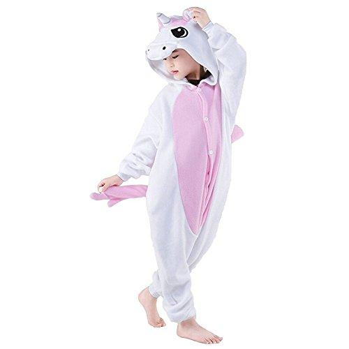 Mescara Licorne Pyjama Kiguruma Combinaison Vêtement de Nuit Cosplay Costume Déguisement Unicorn pour Enfant Unisex - Rose Taille 125