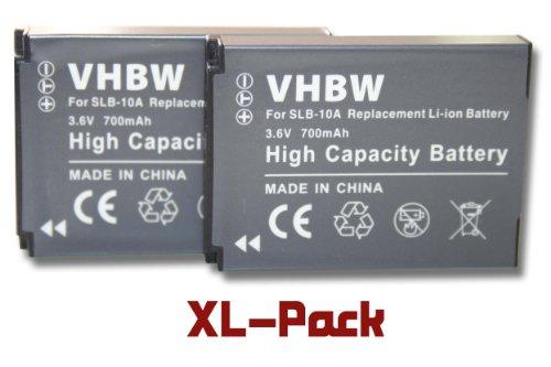 2 x vhbw Batteria Set 700mAh per Fotocamera HP Action Cam AC-200, AC-200W, AC-300W come AT-S60, FJ-SLB-10a