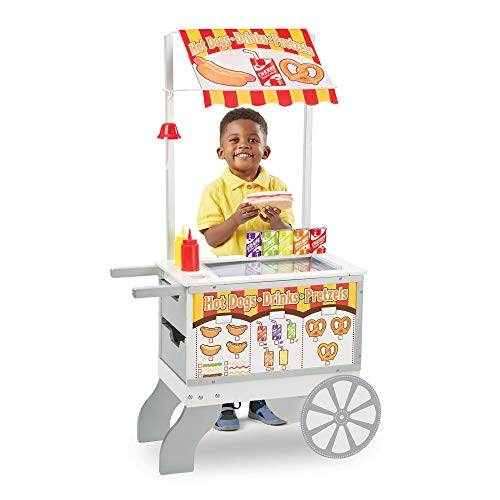 Melissa & Doug Wooden Snacks & Sweets Food Cart, Play Sets & Kitchens, Reversible Awning, 40+ Play Food Pieces, 124.46...