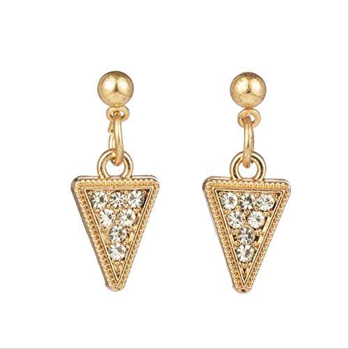 Pour les femmes en forme de coeur brillant boucles d'oreilles en forme de pendants pour les femmes et les filles fiançailles de mariage Triangle d'or 02