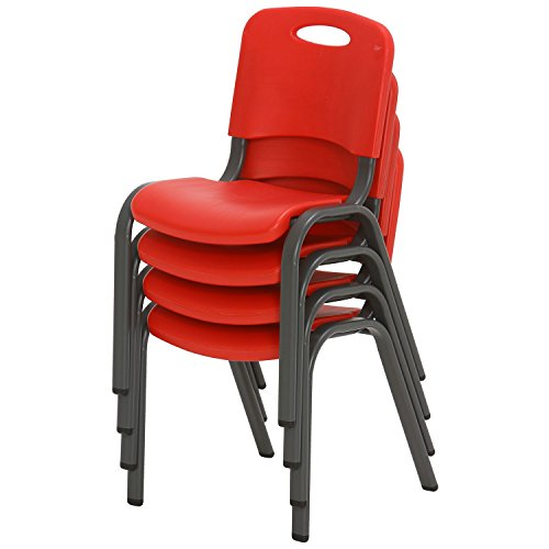 Lifetime Kids Stacking Chair, Fire Red - Pack of 4