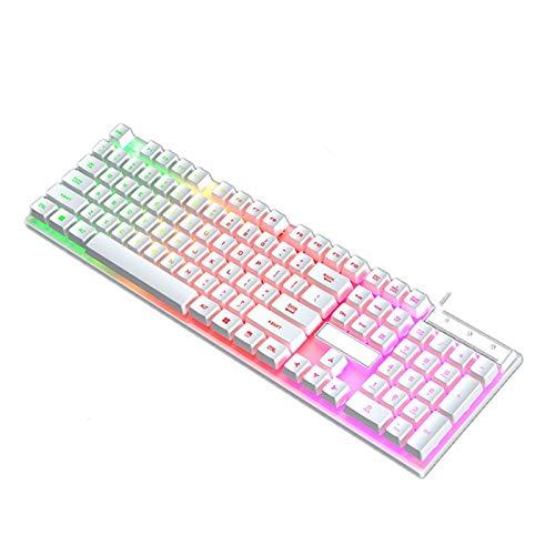 YAOHONG Tastiera Illuminazione USB Cable Mute Desktop Computer Notebook Office Esterno Office Game Keyboard Meccanico Tastiera sensibile a Mano (Color : White)