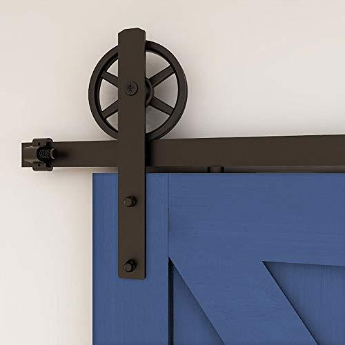 213cm/7FT Vintage Spoke Industrial Rad Schiebetür Barn Holz Innen Tür Schiebetürbeschlag Set Schiebetürsystem/sliding barn door hardware