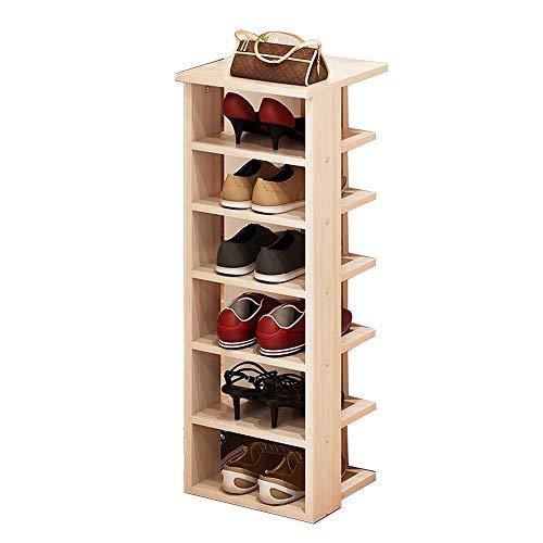 Dore Home Zapatos Simples Unidad Organizativa Estante Vertical De Madera Zapatero Estrecho De 6 Pisos Adecuado para La Esquina Pasillo Dormitorio 30x30x105.9cm (Color : Maple)