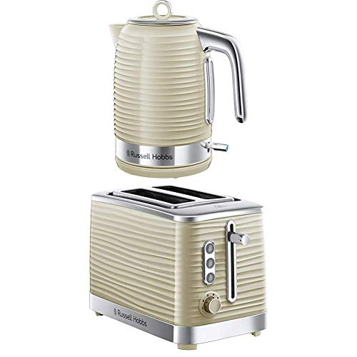 Russell Hobbs Inspire Electric Kettle Cordless Hot Water Dispenser with 2 Slice Toaster Wide Slot with Frozen, Cancel and Reheat Settings, Cream