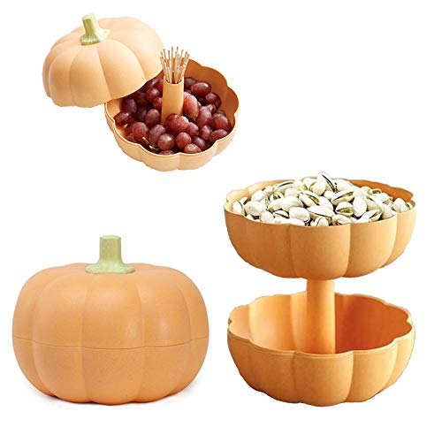Multi-function Pumpkin Snacks Storage Box Double Layer Container Household Plate Serving Dish Organizer for Snacks,Fruit,Candy or Pistachio/Sunflower Seeds Storage Box Home Party Decor