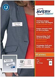 AVERY - Boite de 10 badges magnétiques type Profil transparent avec aimant puissant, Format 27 x 75 mm
