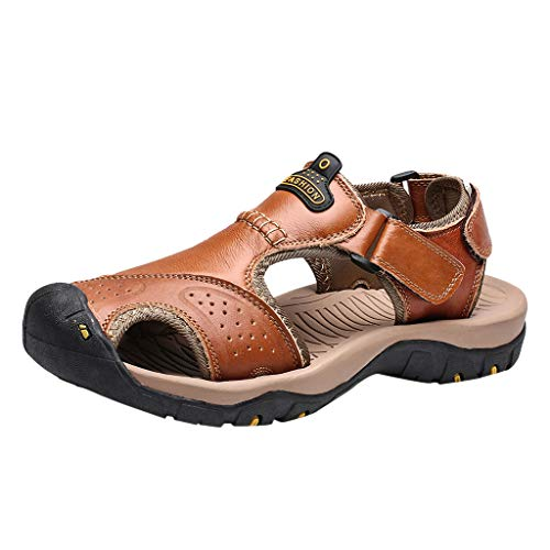Buy Discount Mens Leather Sandal Hiking Newpage Sporty Outdoor Water Shoe Flats Slippers Beach Sport...
