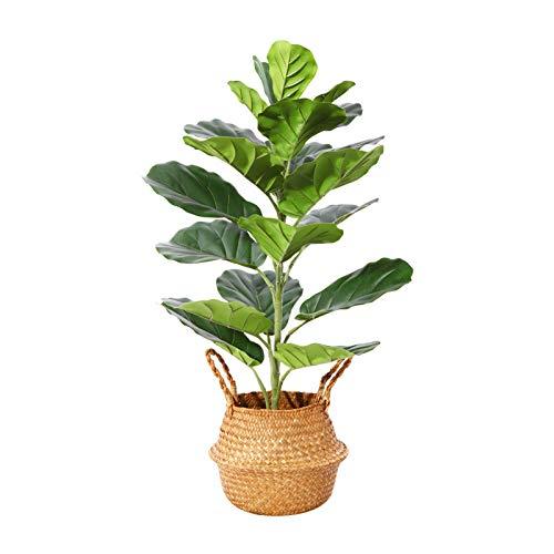 Plantes Artificielles Fausse Ficus Lyrata Plante Hauteur 76cm Tropical Fiddle Leaf Figuier Artificiel pour Interieur ou Exterieur Decoration,Inclus Seagrass Panier(1PACK)