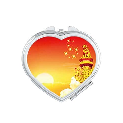 DIYthinker Espejo de Maquillaje Compacto Regalo Espejos Mano del Bolsillo Portable Linda Sun Star Ornamental Columna corazón de la Bandera