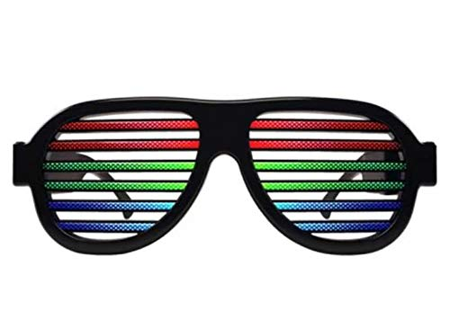 LED Glasses, Light up Glasses, USB Rechargeable Flashing Glasses Music Sound Activated, Glow Shutter Shaded Eyeglasses for Costume Parties, Carnival, Christmas - Black