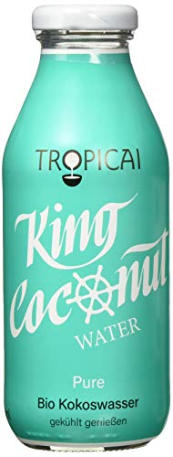 King Coconut Water Pur, Glas-Flaschen, organic Kokosnusswasser, 6er Pack (6 x 350 ml)