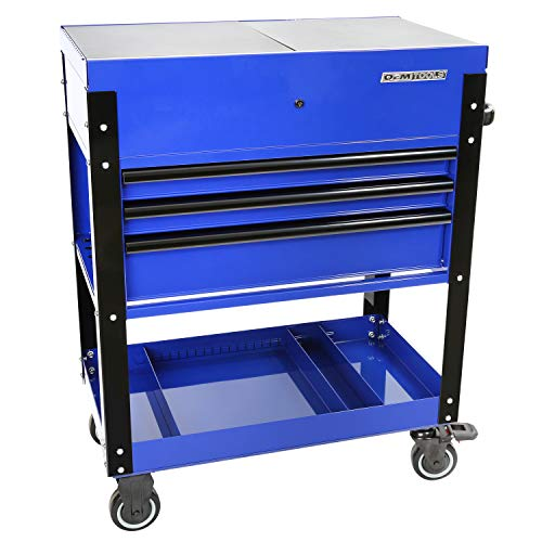 OEMTOOLS 24730 3-Drawer Slide Top Tool Cart, Rolling Tool Chest with Power Supply, Slide-Top Compartment for Easy Access, Quick-Lock Tool Drawers, Blue