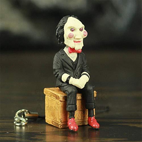 Klassieke horrorfilm zag Billy Jigsaw 5cm figuur met fietsdoos telefoonzak Sleutelhanger filmmodel speelgoed beeldje pop-A - Los