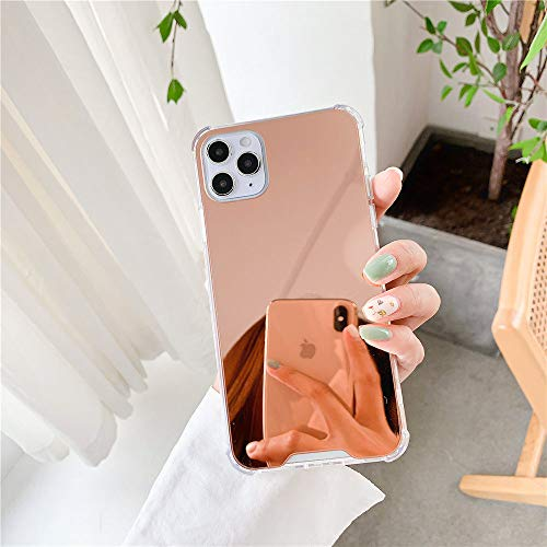 AAA&LIU Espejo Bumper Funda para teléfono a Prueba de Golpes para iPhone 12 11 Pro MAX XS MAX 7 8 Plus XR X 12 Mini contraportada Brillante, Oro Rosa, para iPhone 12