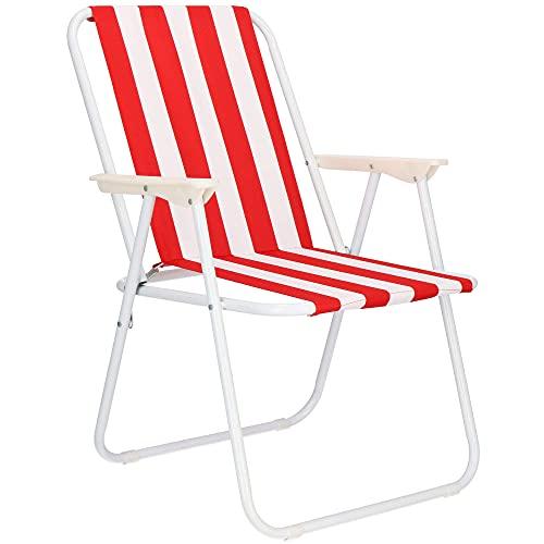 SPRINGOS Chaise de camping pliante avec accoudoirs - Dimensions : 74 x 52 x 57 cm - Pour festival, saison de patio - Cadre en métal en tubes d'acier (blanc/rouge)