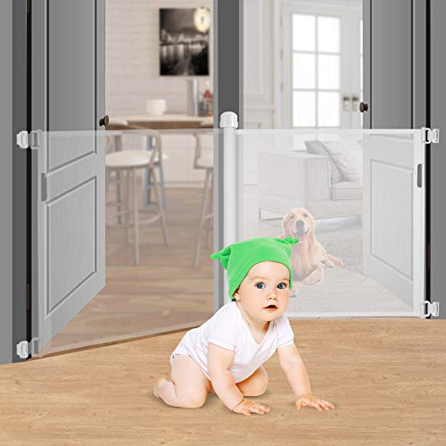 "Retractable Baby Gate Safety Fence,Mesh Safety Gate for Babies and Pets,Extra Wide Safety Baby Gate 34.6"" Tall,Extends to 59"", Pet Dog Gate for Doorways, Stairs,Hallways,Indoor/Outdoor, White"