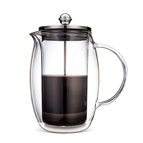 Vobajf Caffettiere a pistone Vetro French Press Pot Doppia Filtro French Coffee Pot cafetieres (Colore : Stainless Steel, Size : 1000ml)