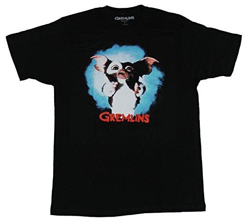 Gremlins Mens T-Shirt - Full Color Gizmo Photo Image Over Red Name (Extra Large) Black