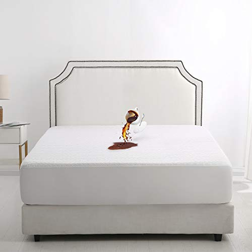 EMONIA Protector de colchón impermeable de bambú de alta calidad, ropa de cama, funda de colchón, transpirable, ajuste elástico (140 x 200 x 40 cm)