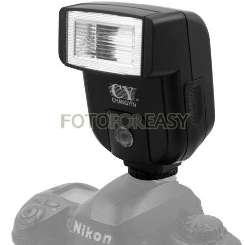 FocusFoto YINYAN CY-20 Universal Hot Shoe On-Camera Flash Speedlite Electronic Speedlight with Sync Port for Nikon Canon Panasonic Olympus Pentax Alpha Digital DSLR Camera Flash Light