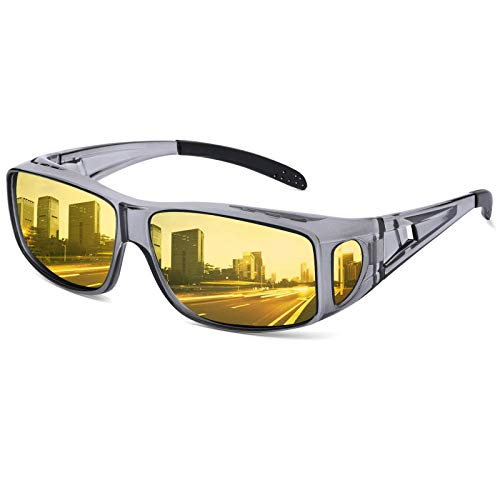 Night Driving Glasses Fit Over Prescription Glasses Anti Glare Polarized, HD Night Vision Driving Wrap Around, Yellow Tinted Nighttime Driving Glasses for Men Women Glare Reducing (Transparent Grey)