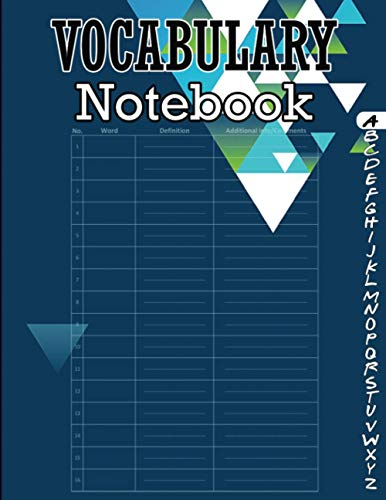Vocabulary Notebook: 100 Page Alphabetical Notebook with Printed A-Z Tabs, Vocabulary Notepad