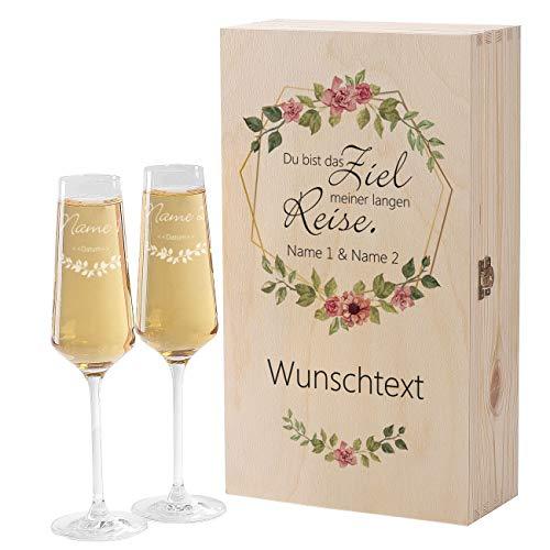 Herz & Heim® Premium Geschenkbox mit 2 Leonardo Puccini Sektgläser zur Hochzeit mit Gratis Gravur und bedruckter Holzbox