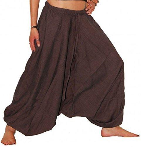 KUNST UND MAGIE Orientalische Haremshose one Size in vielen Farben, Farbe:Dunkelbraun