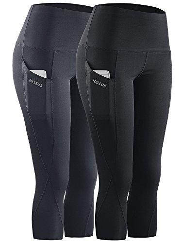 Neleus 2 Pack Tummy Control High Waist Workout Yoga Capri Leggings Yoga Pants,9027,Black,Grey,M,EU L