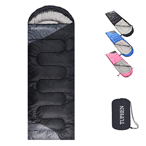 TUPHEN- Sleeping Bags for Adults Kids Boys Girls Backpacking Hiking Camping Cotton Liner, Cold & Warm Weather 4 Seasons (Winter, Fall, Spring, Summer), Indoor Outdoor Use, Lightweight & Waterproof