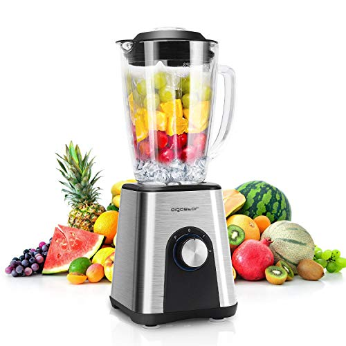1200W Edelstahl Standmixer Smoothie Maker mit 1.8L Glas,Multifunktion Mixer,Ice-Crusher,Milchshaker,Multimixer,Shakes Blender,6-Klinge,Eisbrecher mit 2-Gang,BPA-frei.
