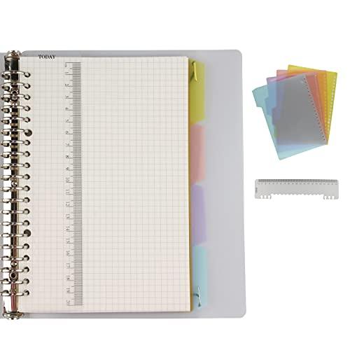 AMO HERMOSO Notizbuch A5 Kariert Spiralblock mit Lineal, Softcover Spiral Squared Notebook, 80gsm, 120 Seiten Spiral-Notizblock