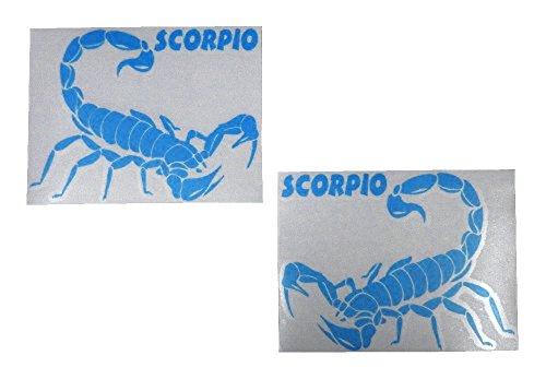 Aerzetix Schorpion, lichtblauw, links + rechts, 2 stickers, zelfklevend, 155/118 mm, voor wand, auto, motorfiets, auto, binnen, buiten, tegels, ramen, deur, ijs, spiegel