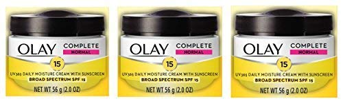 Face Moisturizer by Olay Complete All Day UV Moisture Cream with Sunscreen SPF 15, Normal Skin, 2 Ounce (Pack of 3)