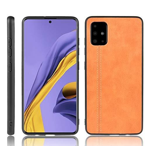 LENASH For Galaxy A51 a Prueba de Golpes de Costura Modelo de la Vaca de la Piel Caja de la PC + PU + TPU (Negro) La Caja del teléfono Funda para Phone (Color : Orange)