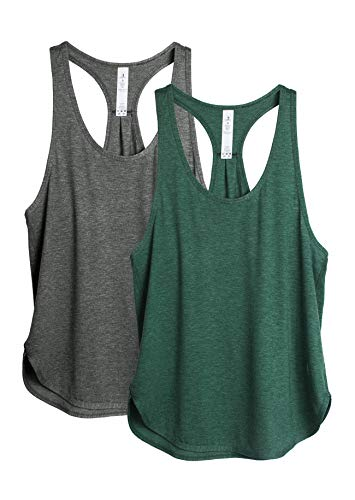 icyzone Yoga Sport Tank Top Damen Racerback Lauftop Fitness Running Shirt Oberteile, 2er Pack (S, Charcoal/Army)