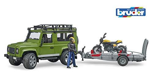 bruder 02589 Land Rover Defender mit Anhänger und Scrambler Ducati Full Throttle