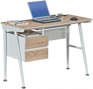 Hjh OFFICE 673998 Escritorio EASY FLOW II roble blanco mesa de ordenador