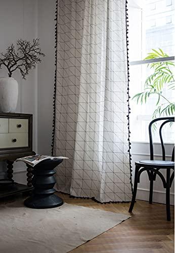 Tende da finestra semi-oscurante a scacchiera bianca 1 pezzo per soggiorno camera da letto, stile Punch 59 'W x 86,6' L (150x220 cm)