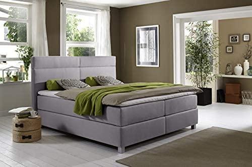 Boxspringbett Cora, 180x200cm, Grau + Fußset Quadrat Hoch Schwarz 15 cm