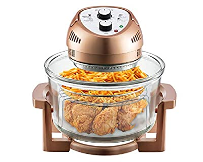 Big Boss Oil-less Air Fryer, 16 Quart, 1300W, Easy Operation with Built in Timer, Dishwasher Safe, Includes 50+ Recipe Book - Copper