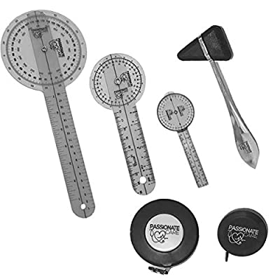 Goniometer Physical Therapy Complete Set W/Bonus Reflex Hammer Including 12,8,6 Inches Goni's Plus Two Bonus Measuring Tapes. Occupational Therapy Tools. Ideal for Clinical or Home Rehab by Passionate Care LLC