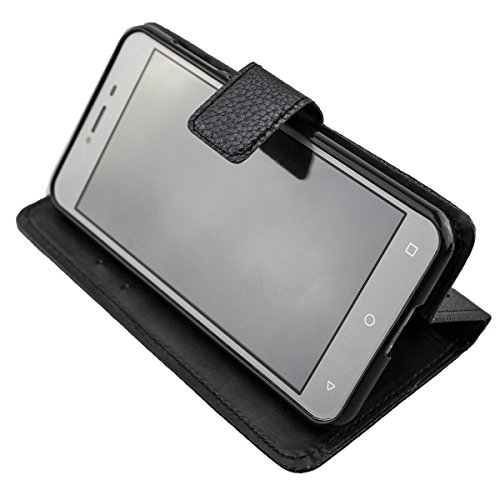 caseroxx Handy Hülle Tasche kompatibel mit Medion Life E5008 MD 60746 Bookstyle-Hülle Wallet Hülle in schwarz