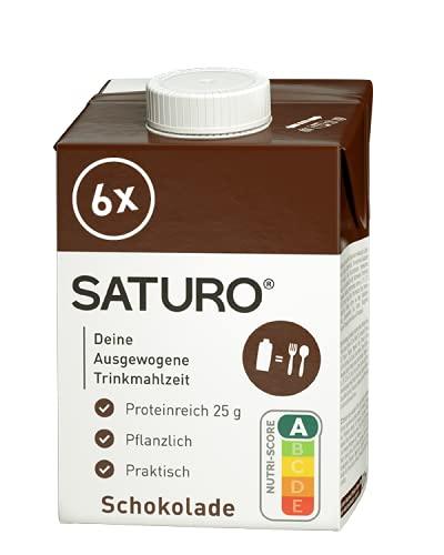 SATURO Batido Sustituto Alimenticio Chocolate, Comida Saciante, Sana y Vegana, Perfecto para Nutrición en el Deporte, Control de calorías, 6 x 500ml