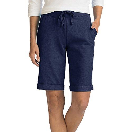 Hanes Women's French Terry Bermuda Short, Navy, Large