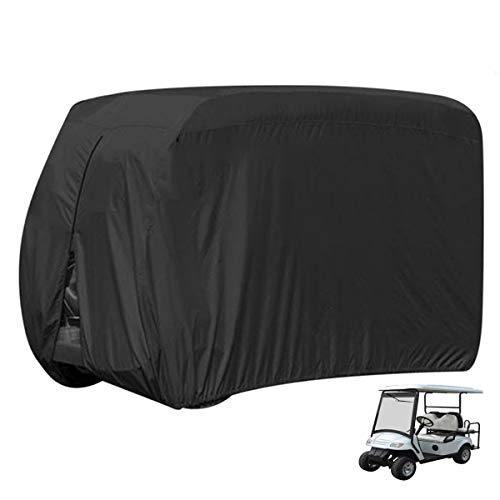 Wateproof Golf Cart Cover - Upgrade Golf Cart Storage Cover for 4 Passenger, Golf Cart Easy-On Cover for EZ GO,Yamaha,Club Car,112' L x 48' W x 66' H, w/ Windproof Air Vent & Water-Proof Adhesive Tape